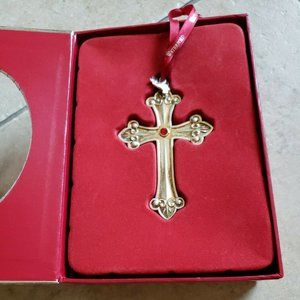 Waterford CROSS 2013 Silver Plated Christmas Ornament in box #159777
